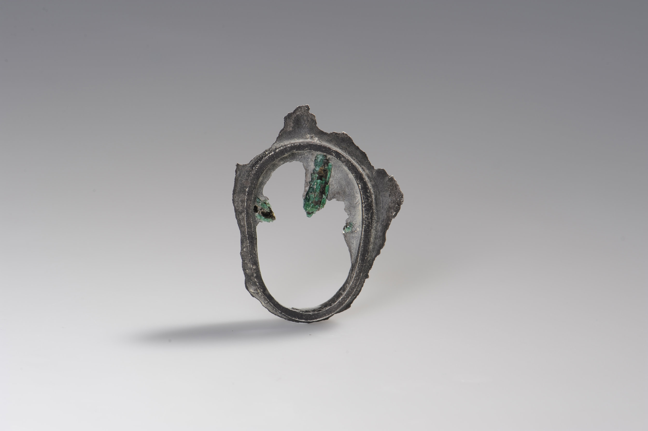 silver ring with emerald by Nora Werner Design