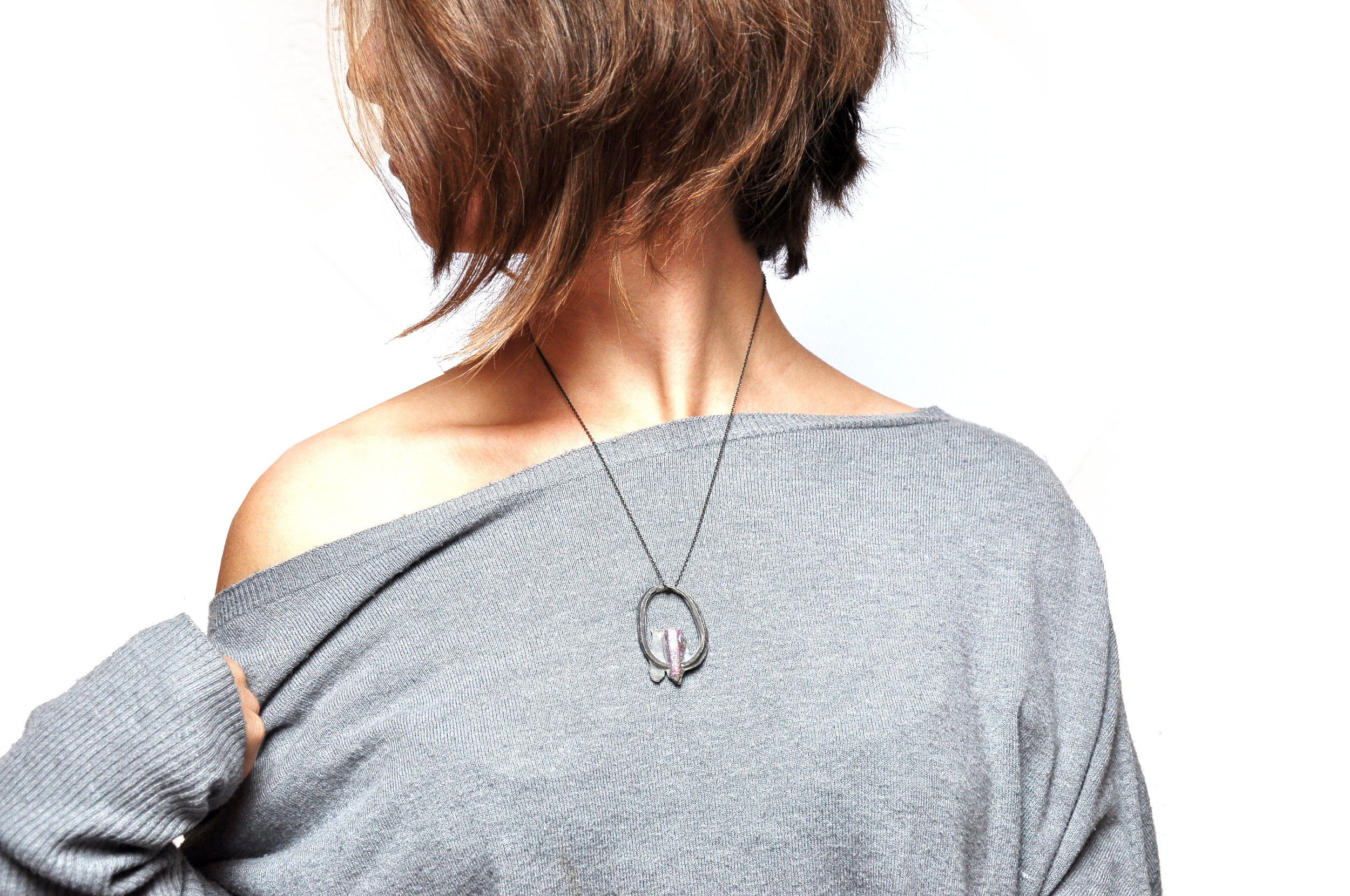 silver ring pendant with ruby by Nora Werner Design