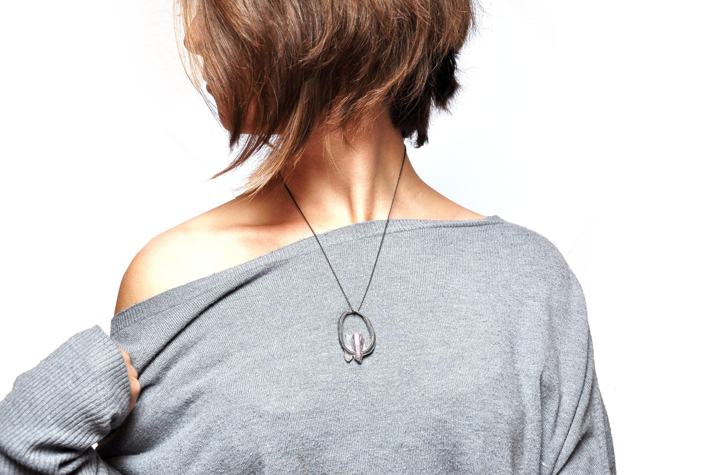 Kopie von silver ring pendant with ruby by Nora Werner Design