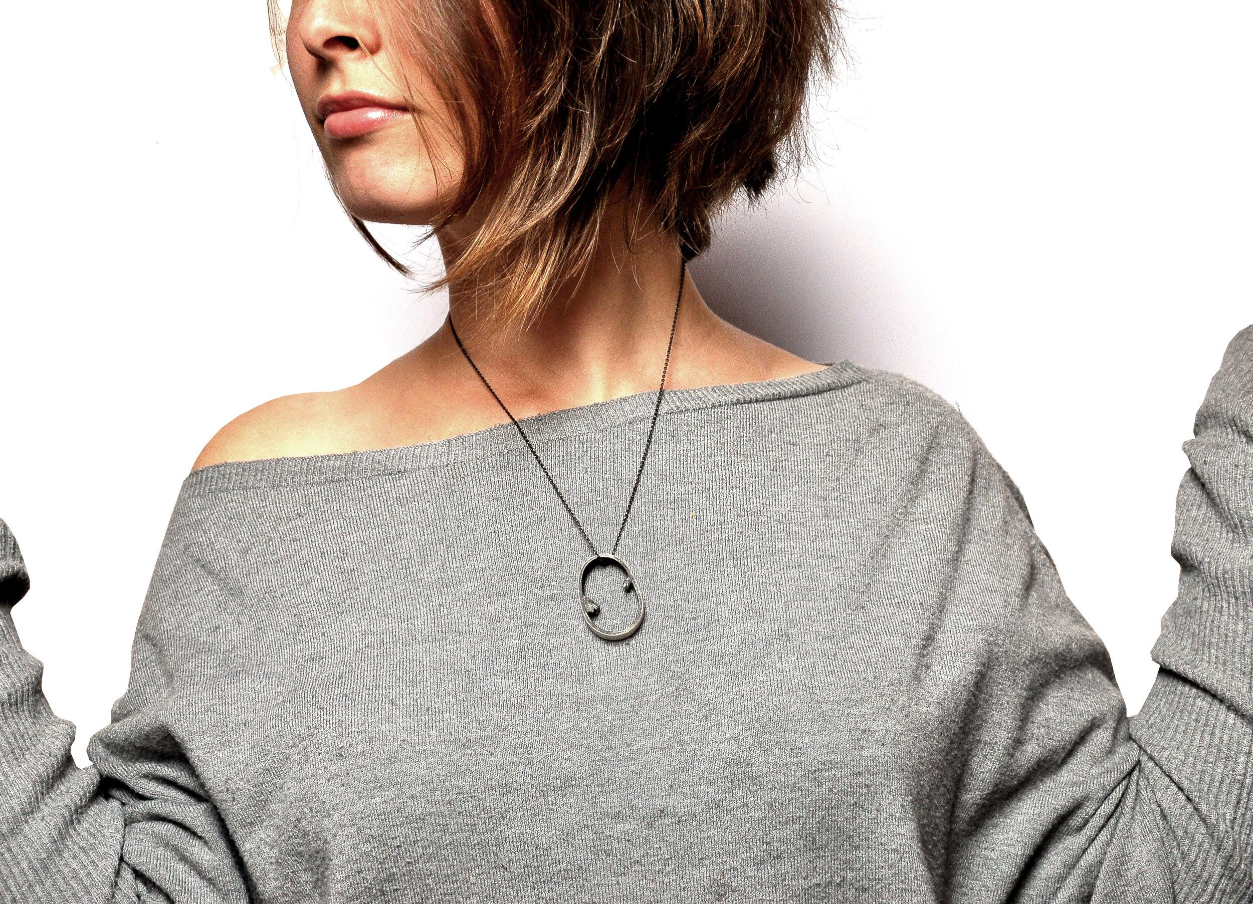 Kopie von silver ring pendant with emerald by Nora Werner Design