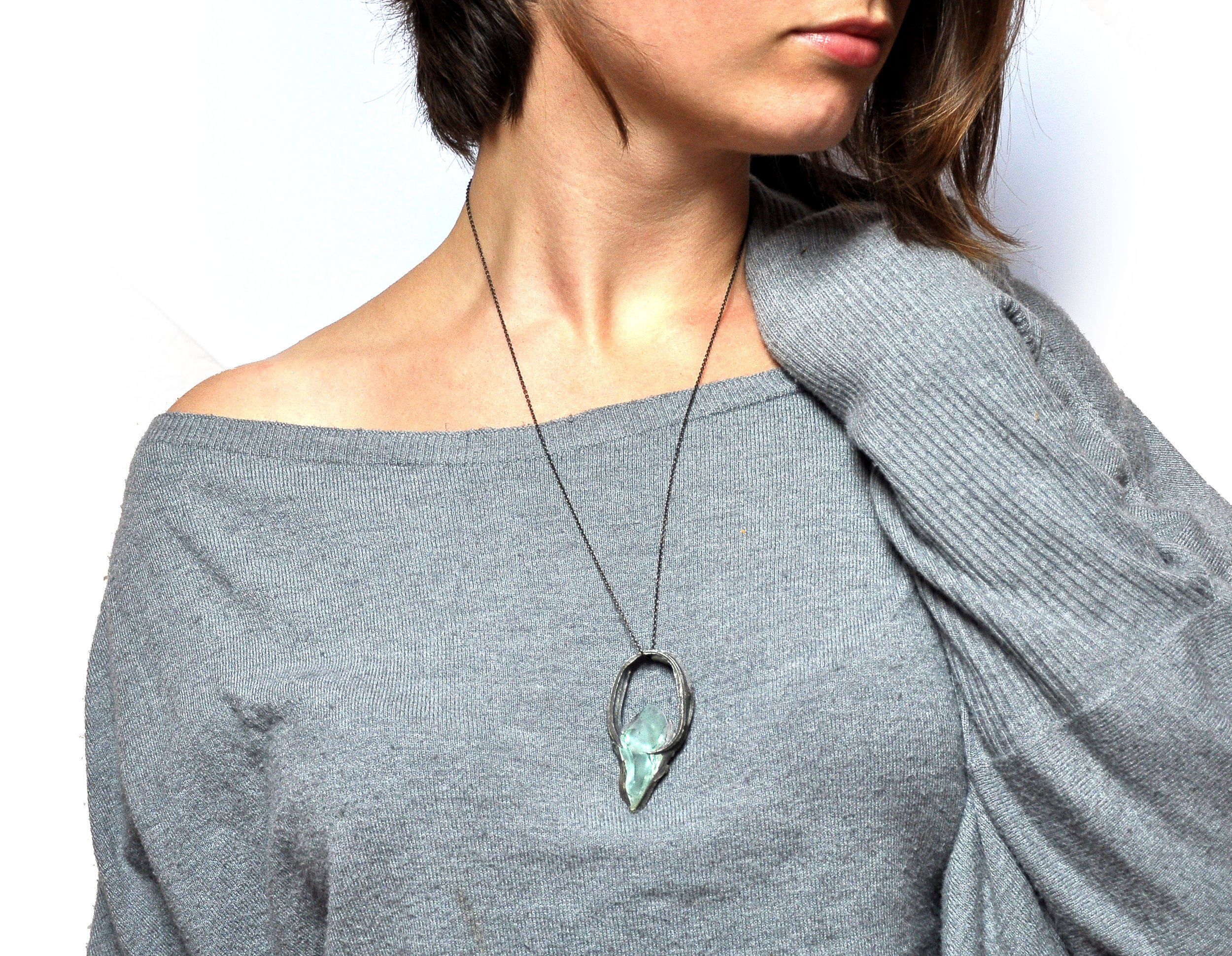 silver pendant ring with glass by Nora Werner Design