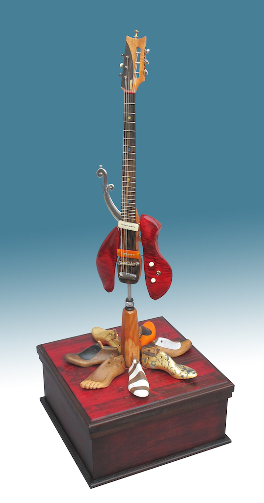 Mixed media; stand sculpture, guitar; 2018