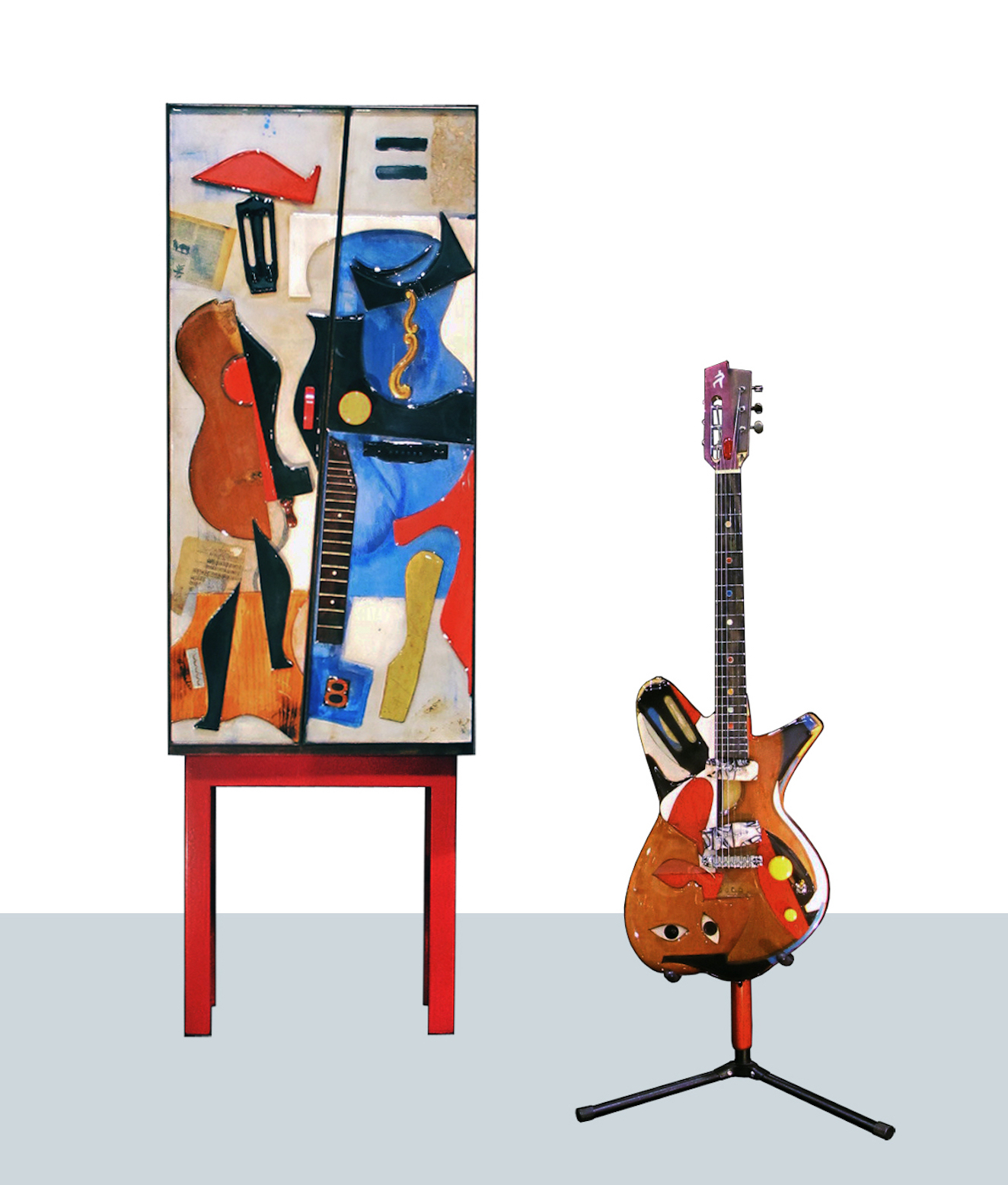 Mixed media; cabinet, stand, and guitar, 2018