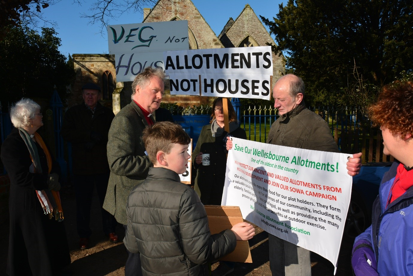 Our peaceful protest outside St Peter's Church when we met Bishop John of Warwick to put our concerns - Feb 2018