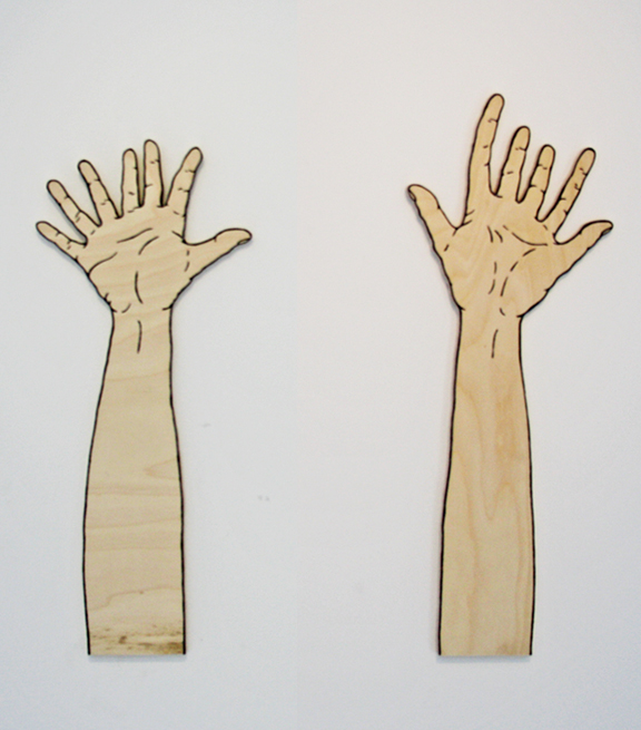Lucid Hands, paint and plywood, 2012