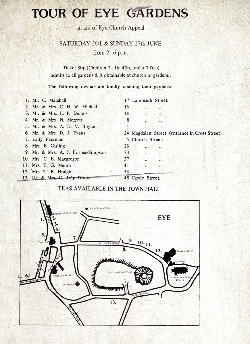 An early Eye Gardens Tour Guide.