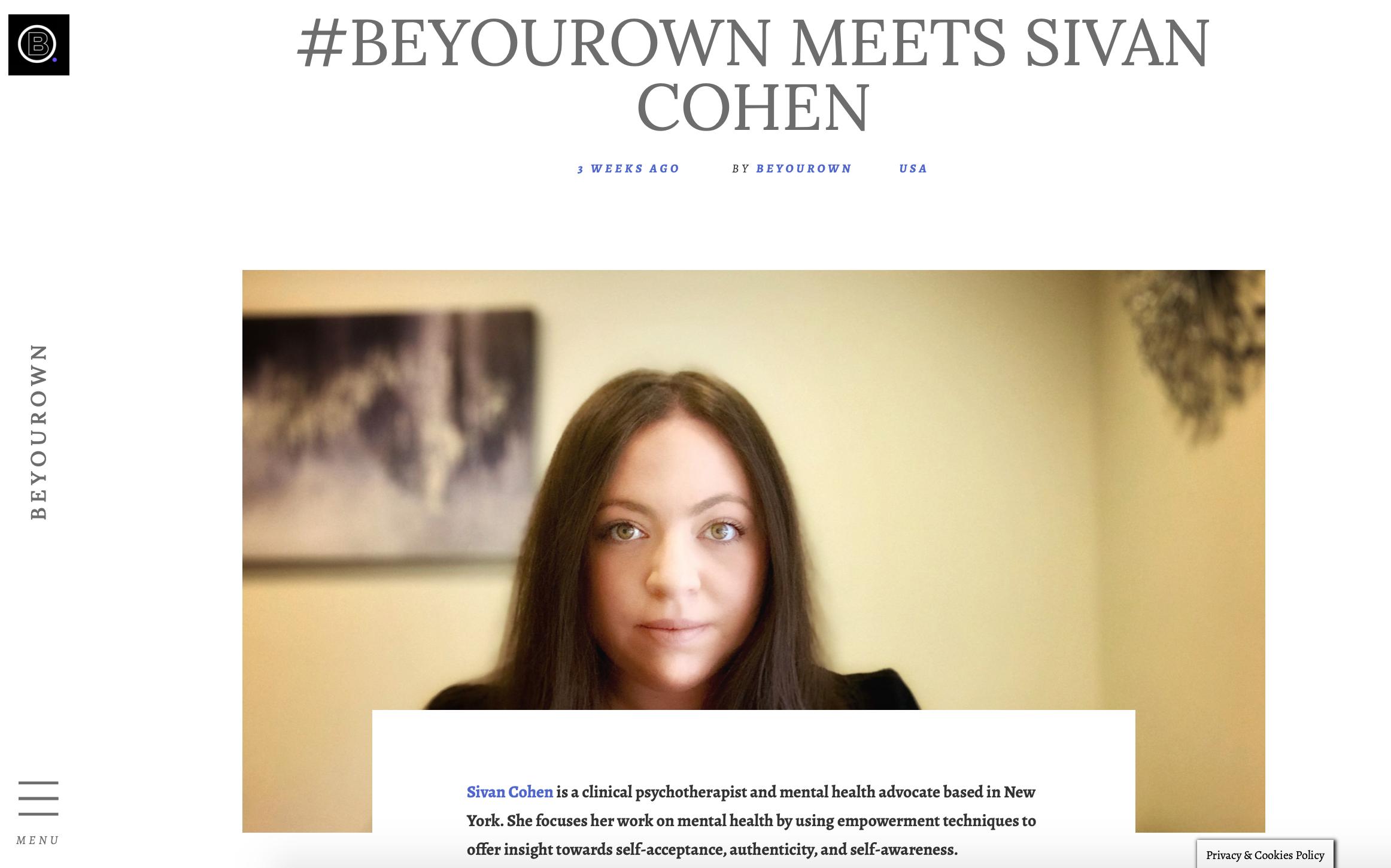 #BEYOUROWN MEETS SIVAN COHEN