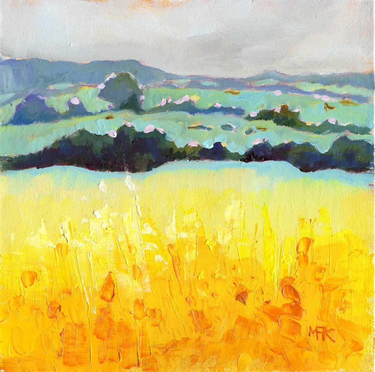 Mustard Yellow Field at Oundle - A small piece of delicious yellow, loads of texture and rich colour.DETAILS