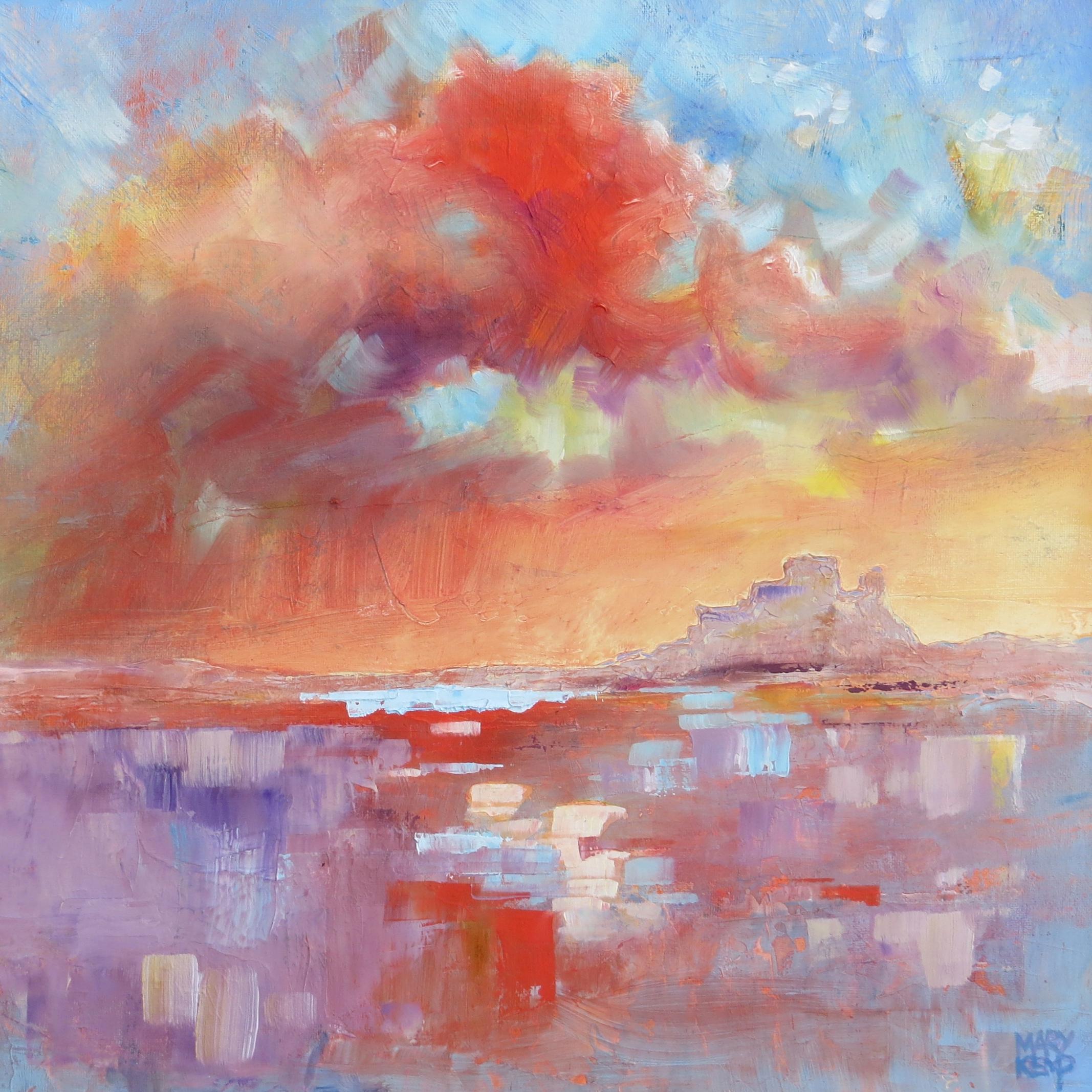 Mary Kemp. Lindisfarne Sky oil on canvas panel 30 x 30 cm.JPG