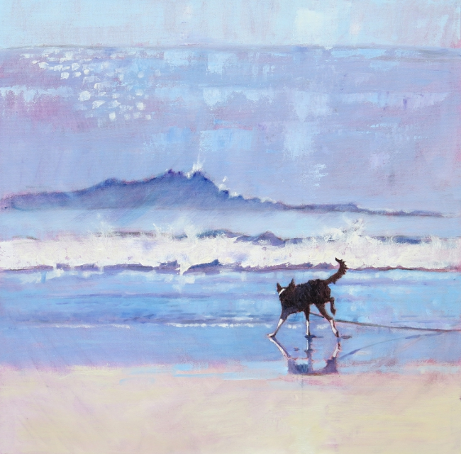 © Mary Kemp. Grace the Border Collie Encounters a Wave.