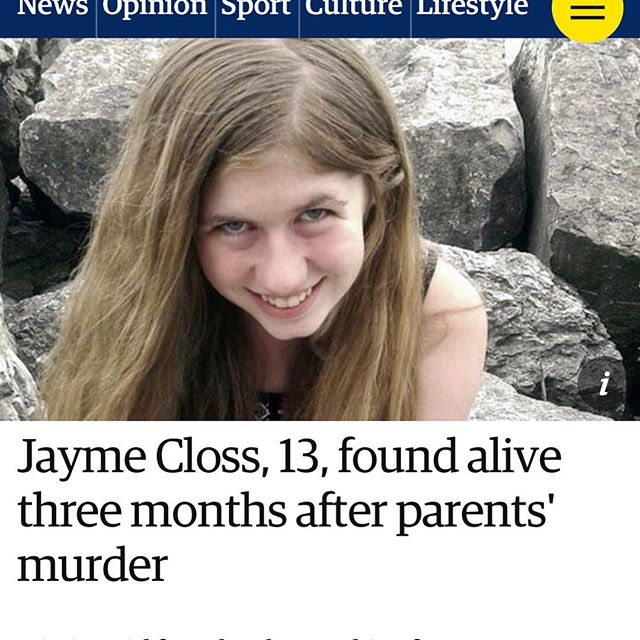 Let's thank those courageous women who provided a safe shelter, offered food & water to this 13 year old girl who was kidnapped after her captives murdered her parents October 2018. Jayme Closs escaped from her kidnappers yesterday and sought help from a woman walking her dog who then had neighbors call 911. Jayme is safe and her kidnapper was arrested. More information to come. God is good! #jaymecloss #kidnapped #murder #crime #arrested #murdermystery #investigate #leo #truecrime  #detective #justice #law
