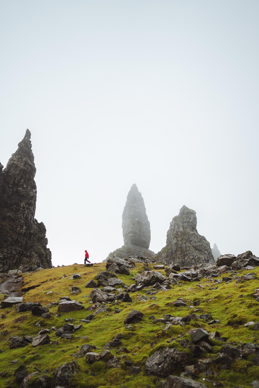 Man walking in the rock of Old Man of Storr