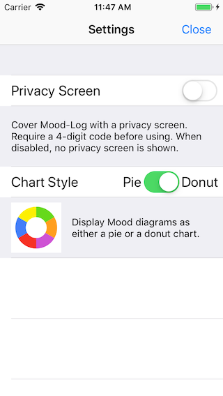 Mood-Log's new Settings window