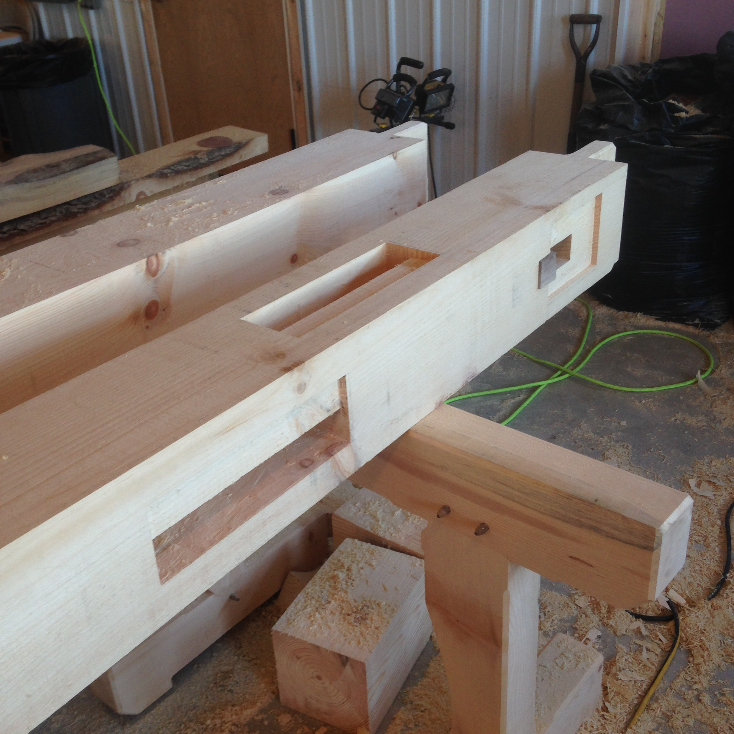 A look at the mortise and tenon joinery.