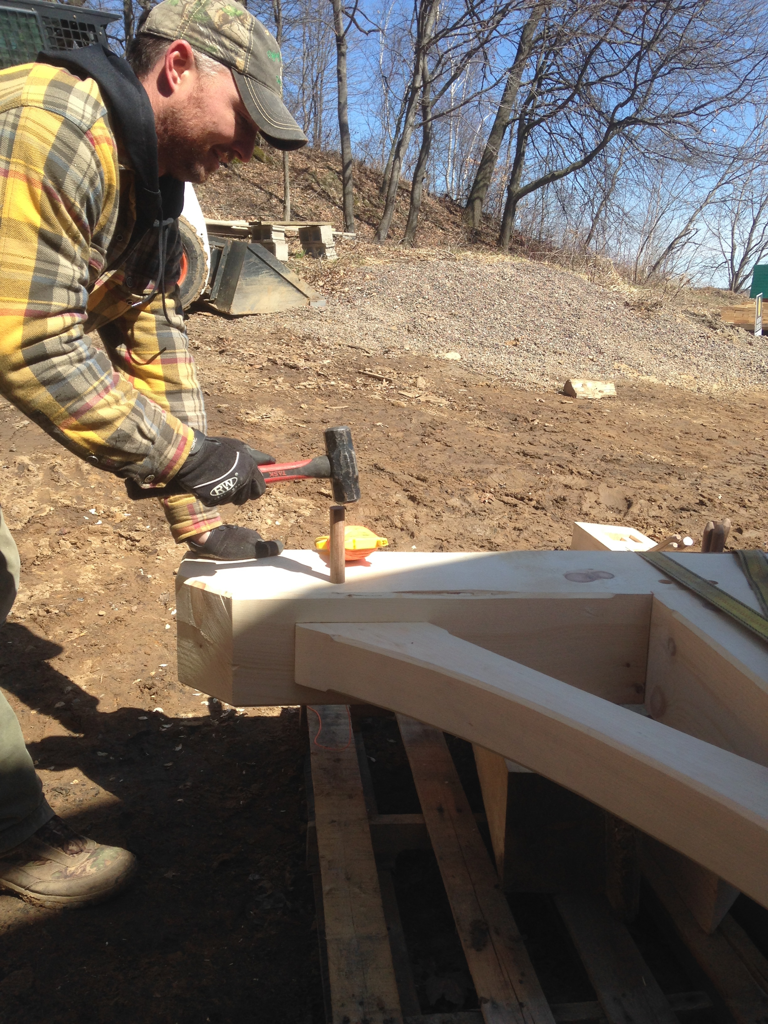 Securing the joint with a white oak peg.