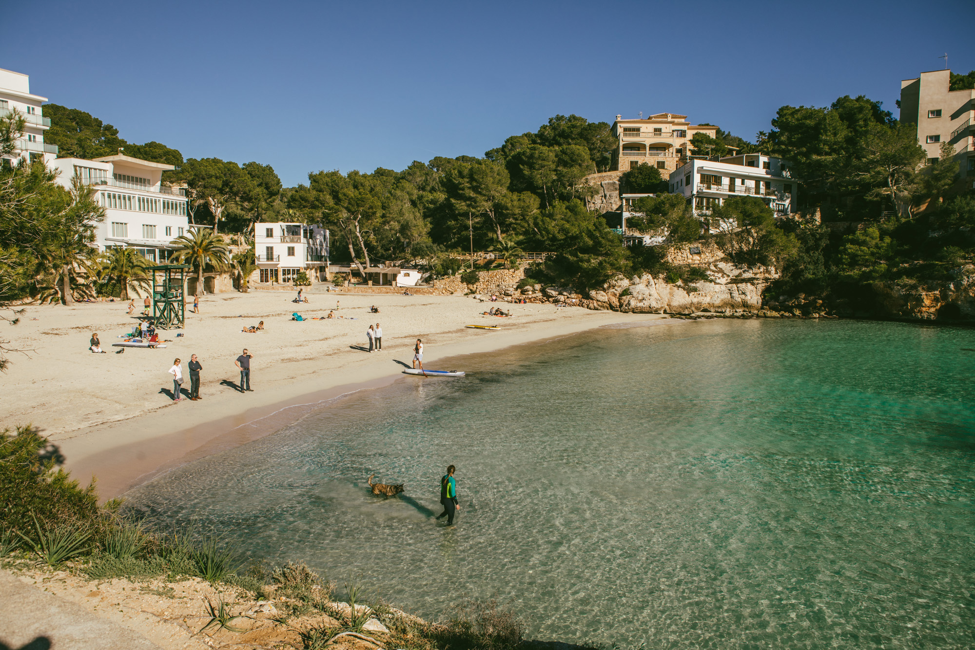 View of Cala Santanyí from the elevated walkway on the righthand side of the beach.