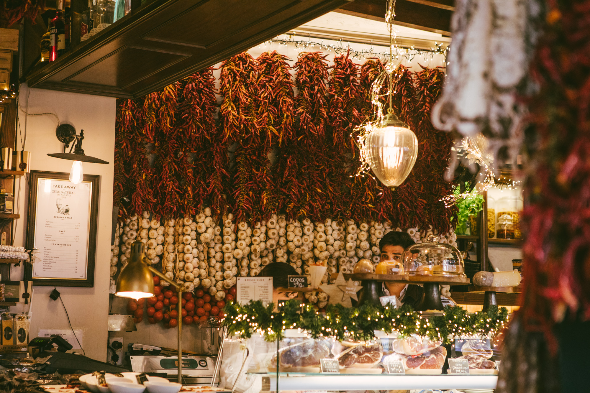 A wall of chilis and garlic in one of the cafes!