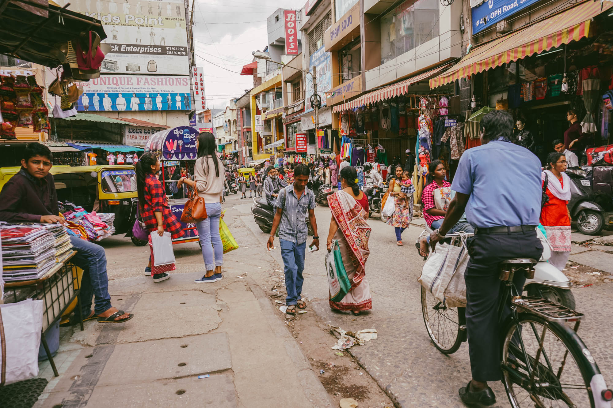 The hustle and bustle on Commercial Street in Bangalore