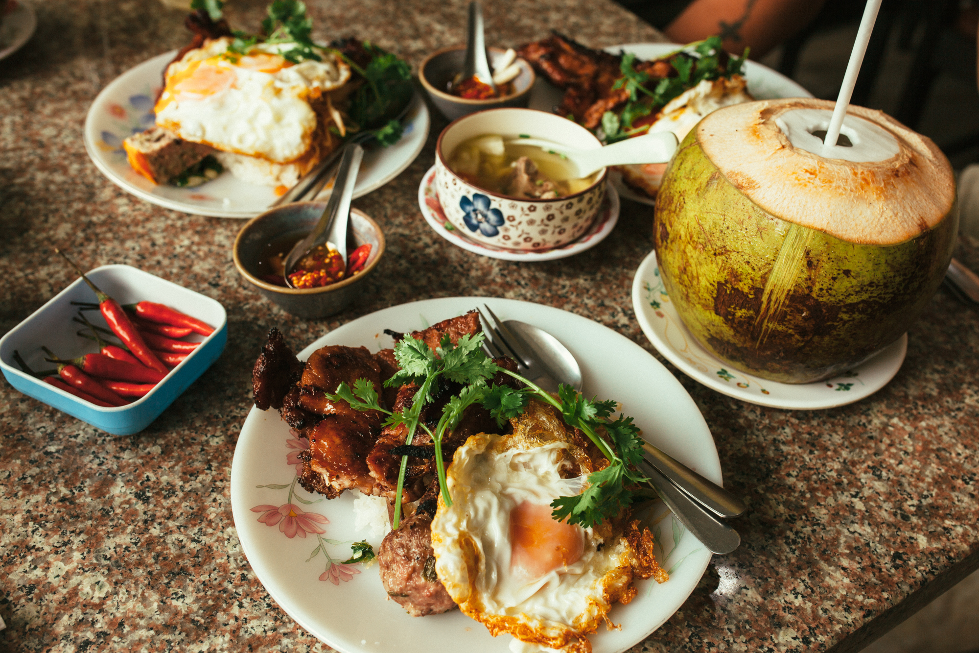 We ordered #1 on the menu with a few add ons; shredded pork, fried egg, pork pie and meatball. Also with a couple small side of winter melon and mushroom soup.