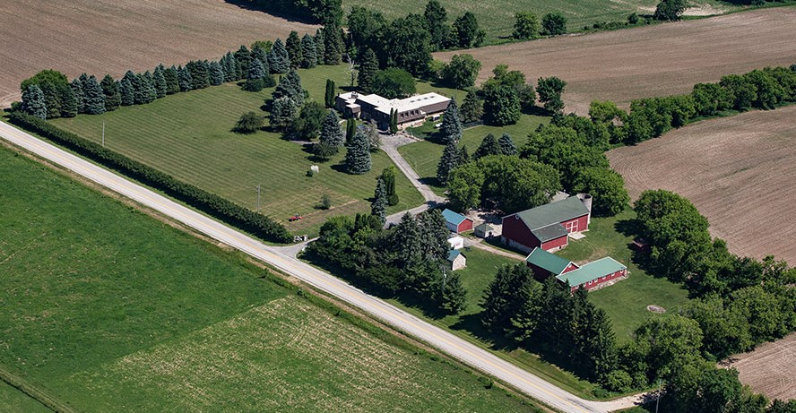 Aerial photograph taken in June of 2016, two days after closing on the property. We are cutting our first rows in the front field with a rented tractor. Three months later, we were selling fresh cut flowers at a local farmer's market.