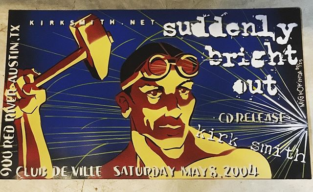 "Suddenly Bright Out turns 15 today. This is the poster for the record release party - Stenciled and Sprayed by the great and powerful @migkokinda. To celebrate I've posted the entire record on SoundCloud and re-released ""All our own  way"" as a single. Listen in the highlights ☝🏻The album is available to stream and download where you would expect, and physical copies can be had at: https://store.cdbaby.com/cd/kirksmith . Hey y'all, thank you."