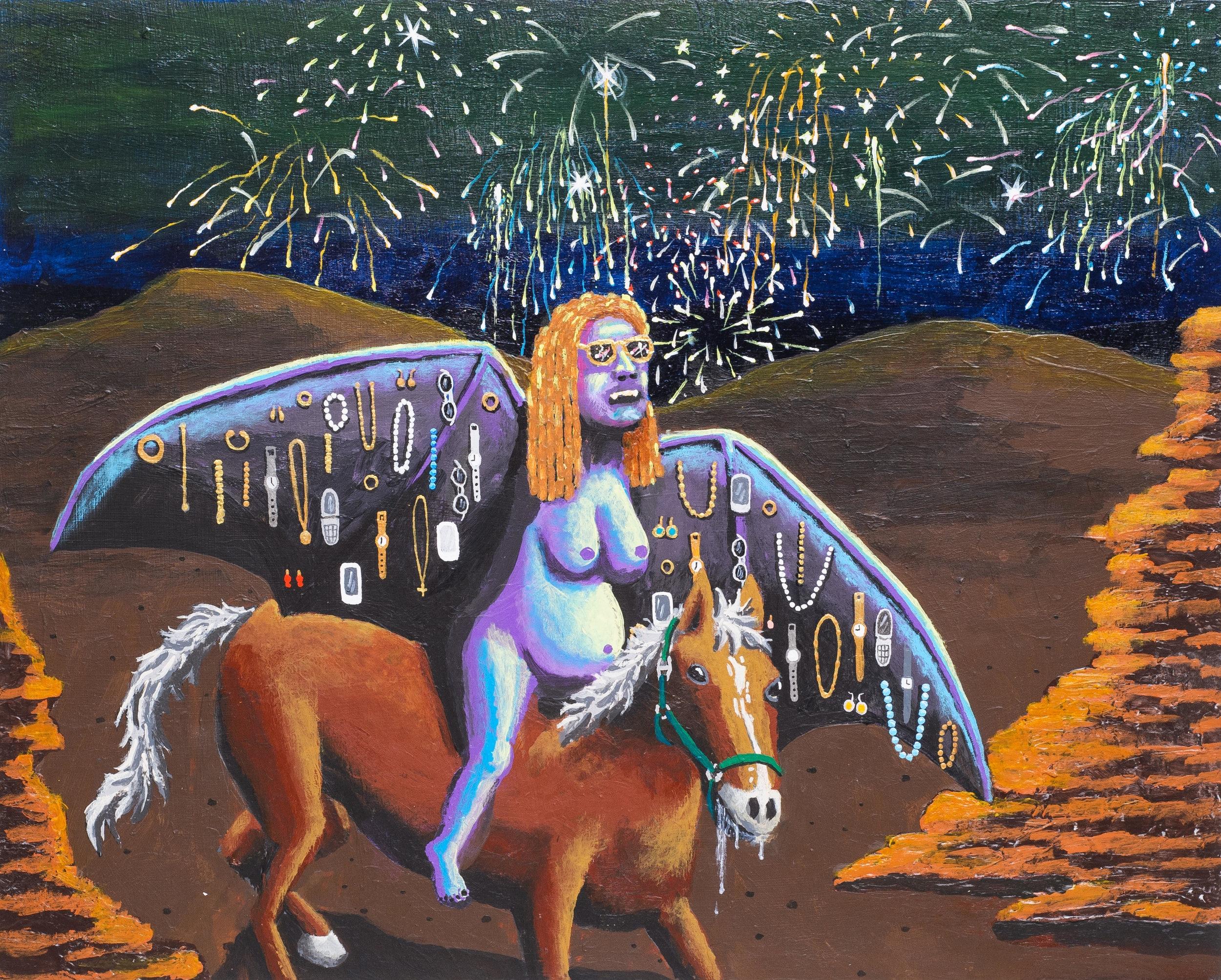 "Cosmic Bamboozler  by Ralph Pugay  Acrylic on panel, 16"" x 20"", 2015"