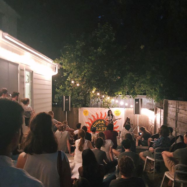 """I have a whole laundry list of reasons as to why I love Austin. On that list is spending time in the midst of energetic movers like @seeyouleita (thank you for this picture) who helped found @bungaloweastatx Can't beat intimate backyard shows like this, especially when the show culminates with a rainstorm breaking overhead and a genius song about commies """"celebrating"""" Christmas ⚒🎄"""