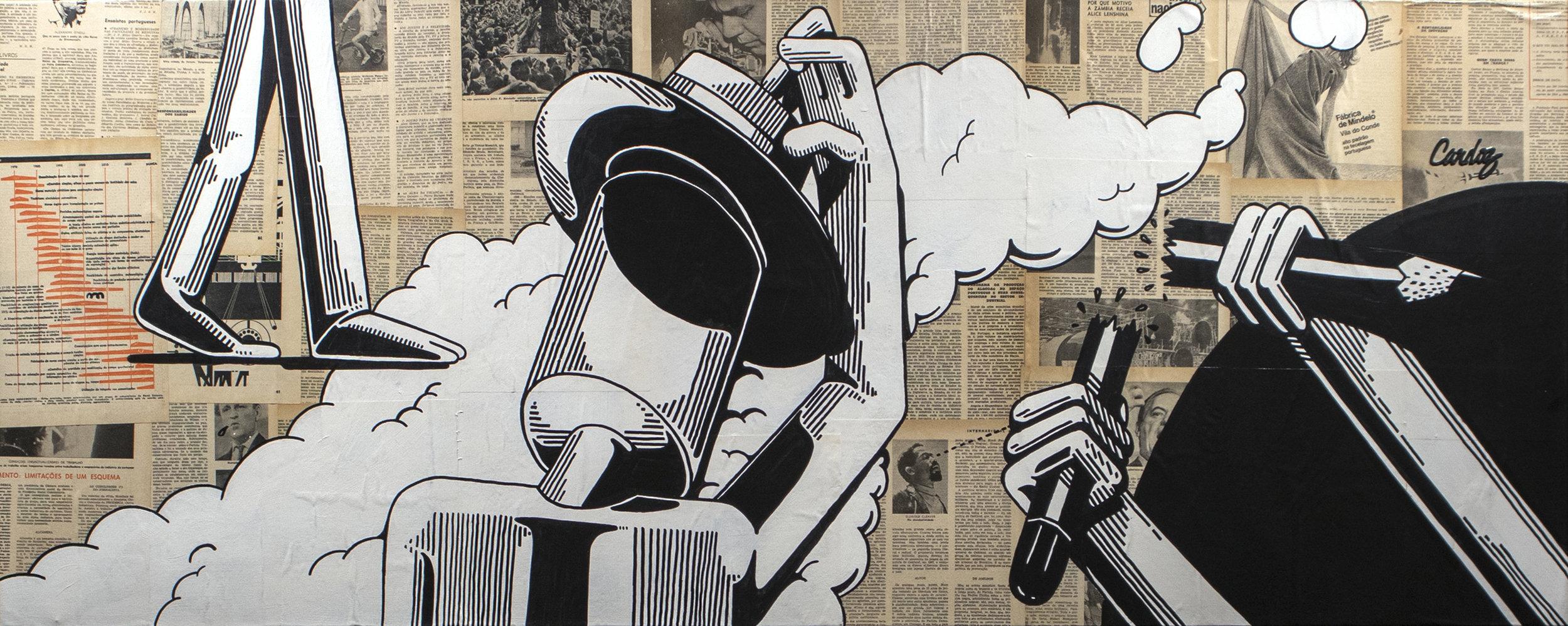 Stop showing off, 2019 Mixed technique - Collage + Illustration (Acrylic paint, Posca pen) 60 x 150 x 4,5 cm