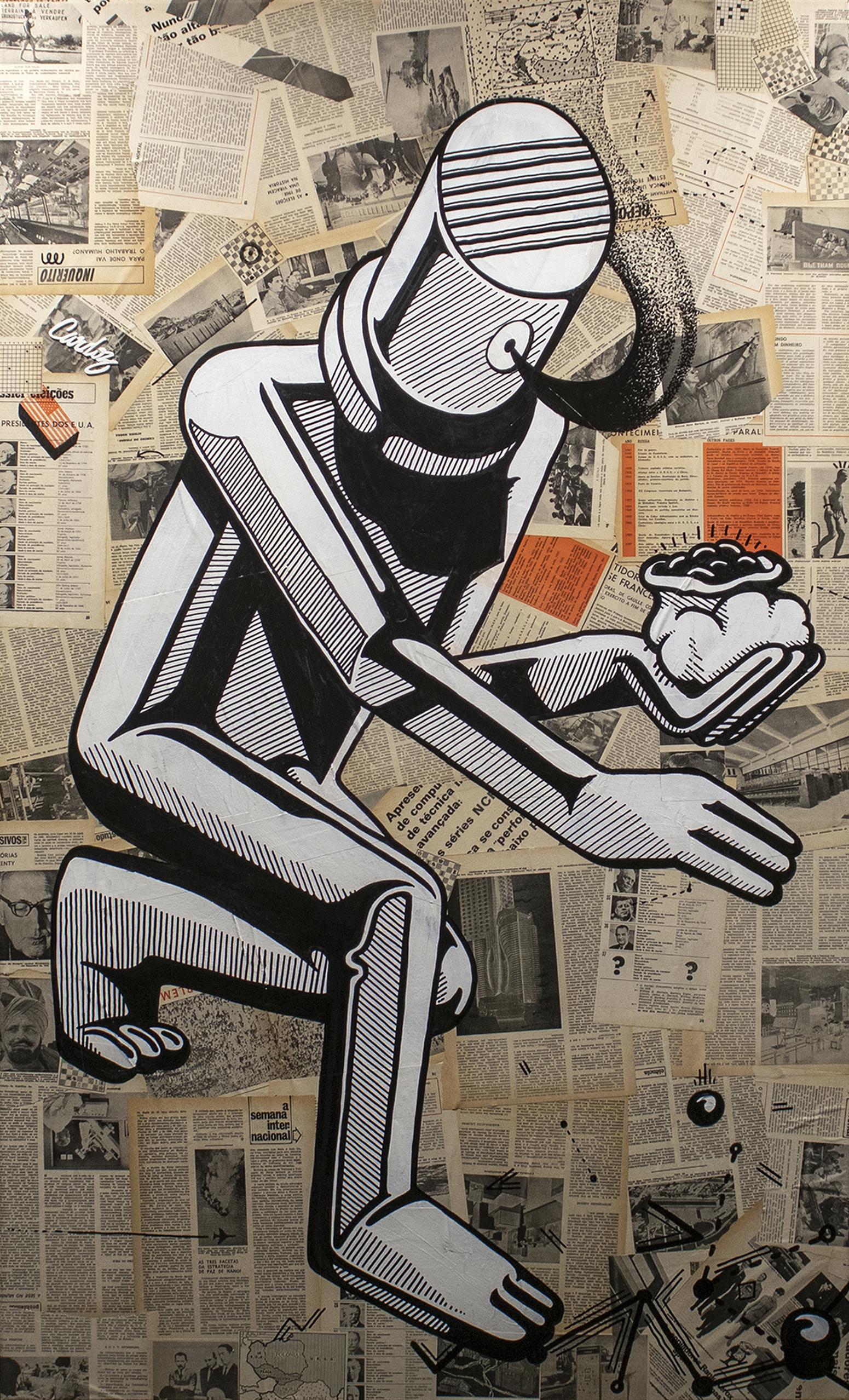 I am under surveillance, 2019 Mixed technique - Collage + Illustration (Acrylic paint, Posca pen) 150 x 90 x 4,5 cm