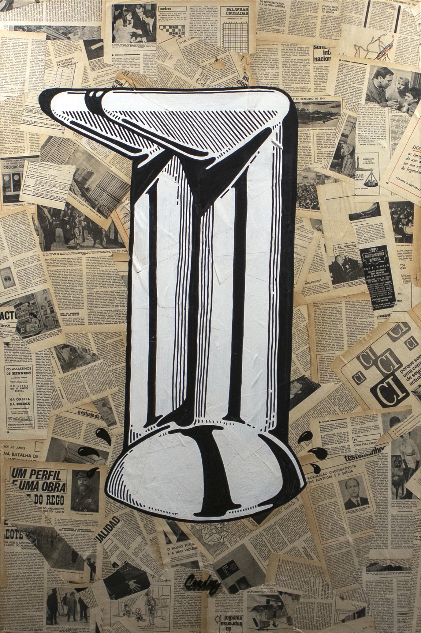 Cringe, 2019 Mixed technique - Collage + Illustration (Acrylic paint, Posca pen) 120 x 80 x 4,5 cm