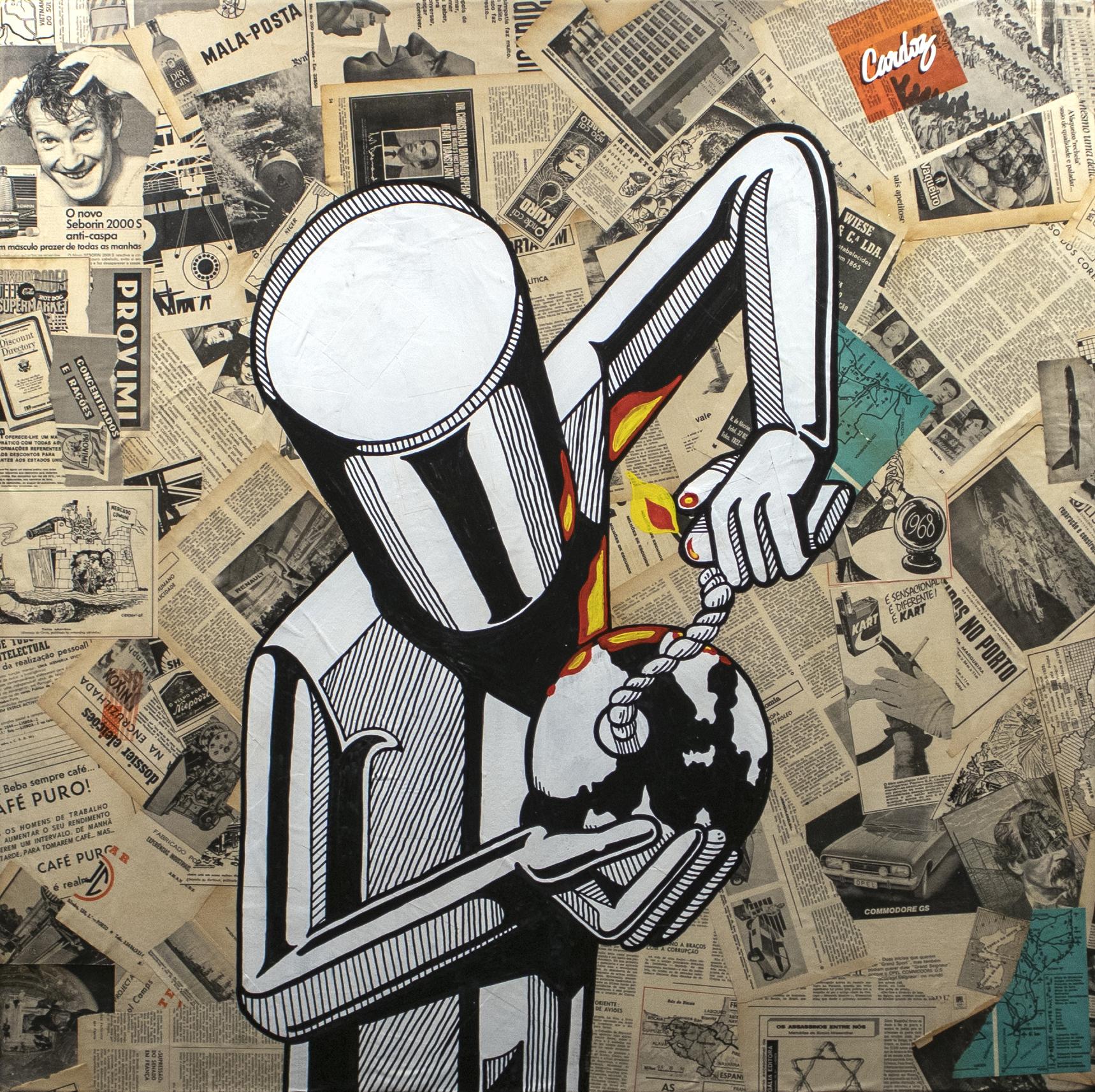Industrial Behaviour, 2019 Mixed technique - Collage + Illustration (Acrylic paint, Posca pen) 100 x 100 x 4,5 cm