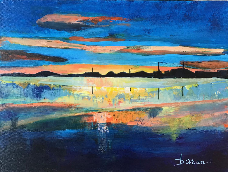"City Sunset   18 x 24"" Acrylic on Canvas"