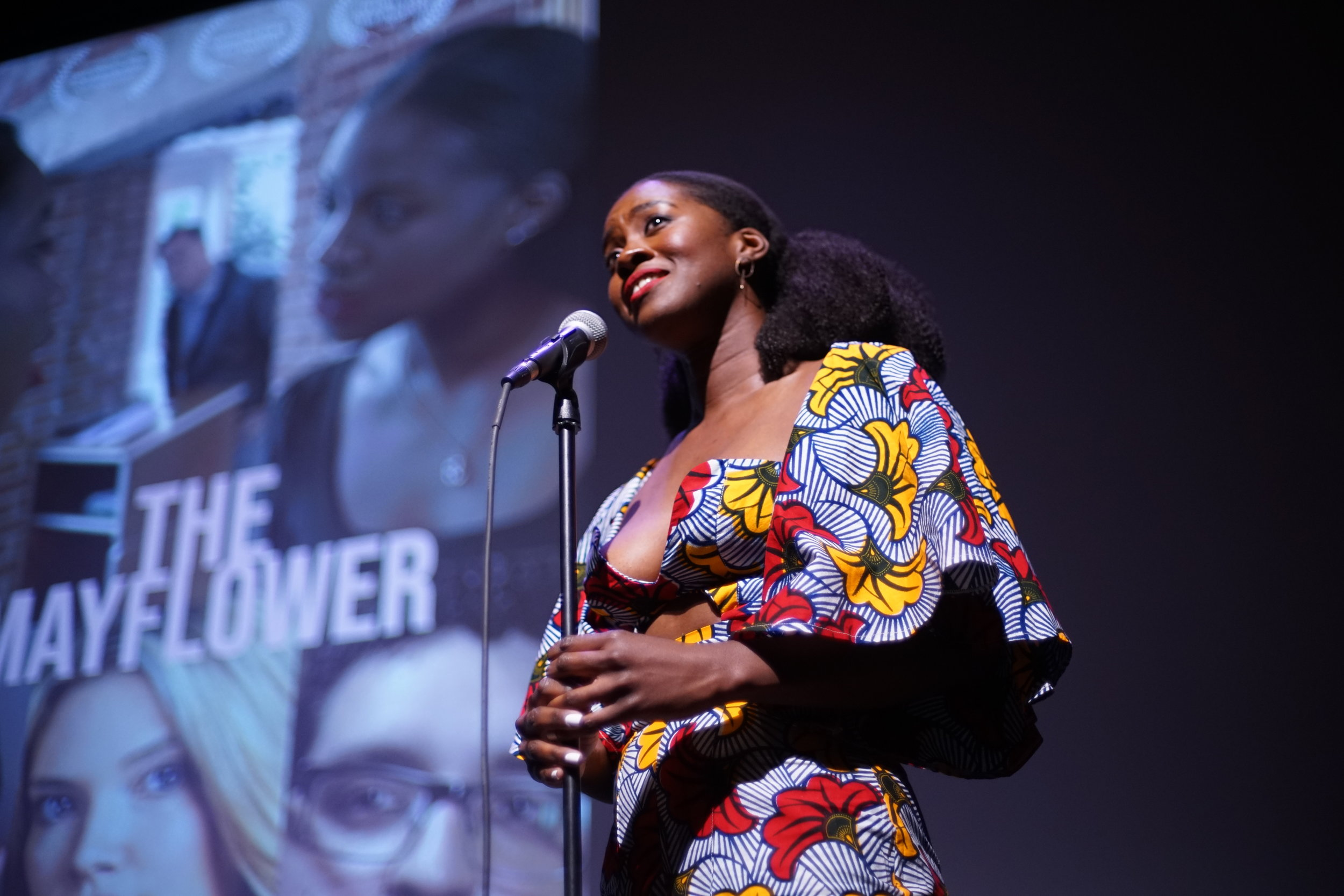 Writer/Creator/Female Lead Eposi Litumbe speaks during Private Fundraising event | Photo by George Carles