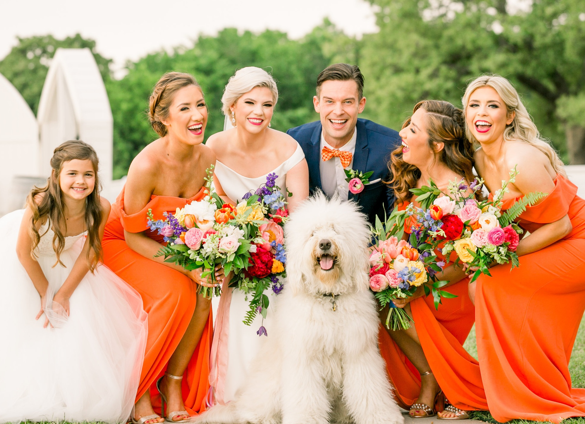 Couple Portrait with Floral Bouquet in Dallas, Texas