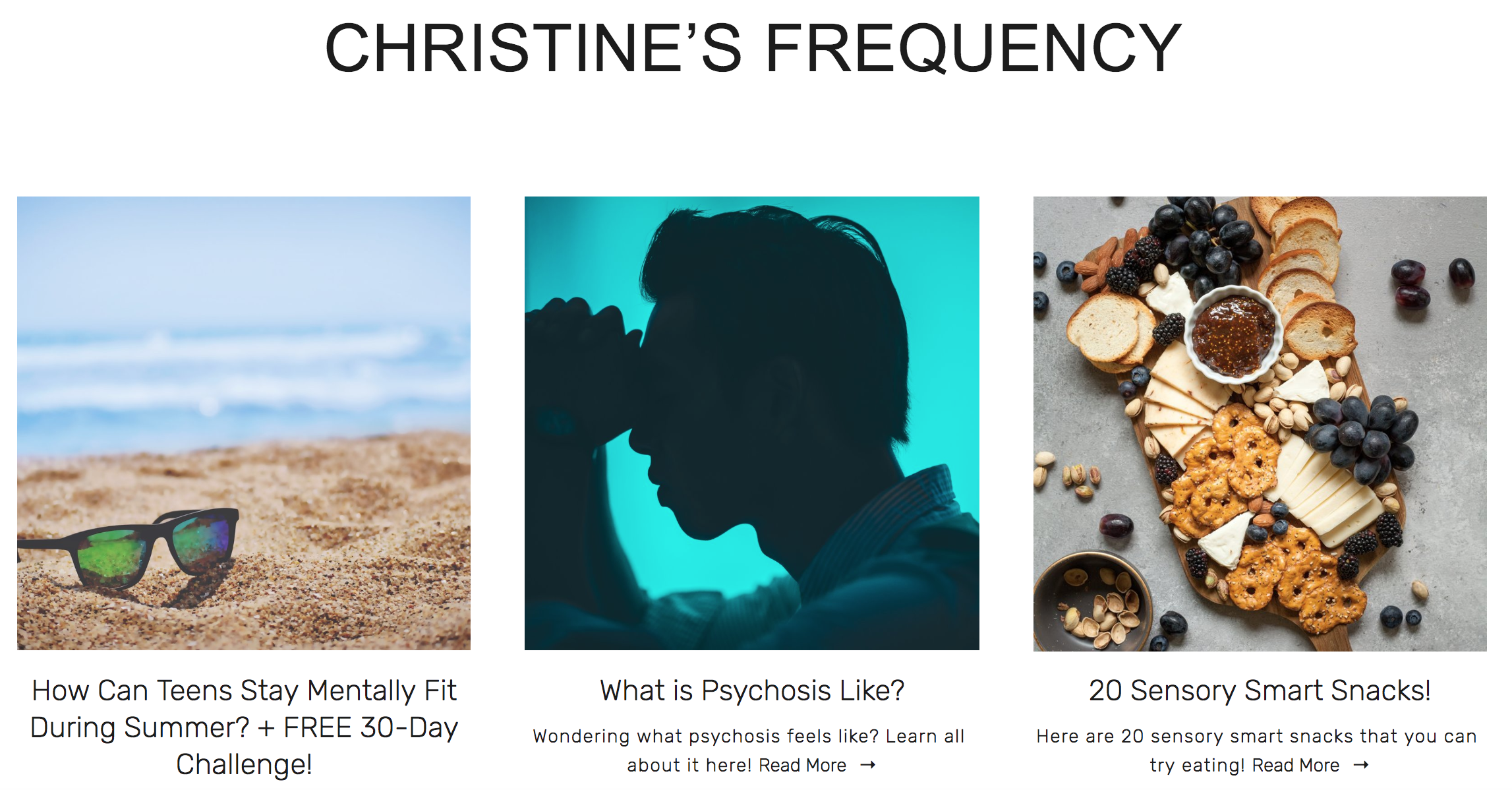 Christine's Frequency - My blog speaks directly to teenagers and offers information on specific challenges teenagers struggle with at school & home.