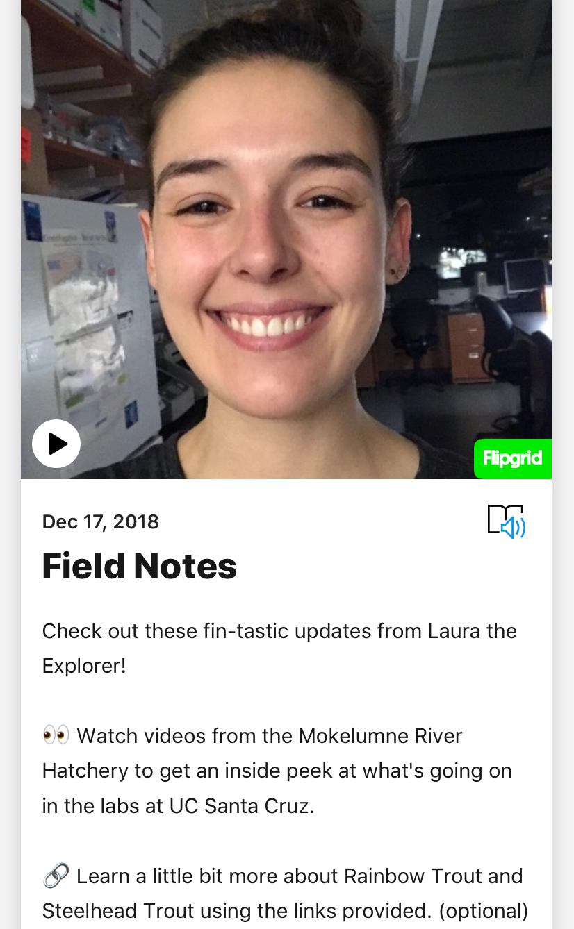 Field Notes allows students to experience - Students can tune into research at the hatchery and fisheries topics in Field Notes