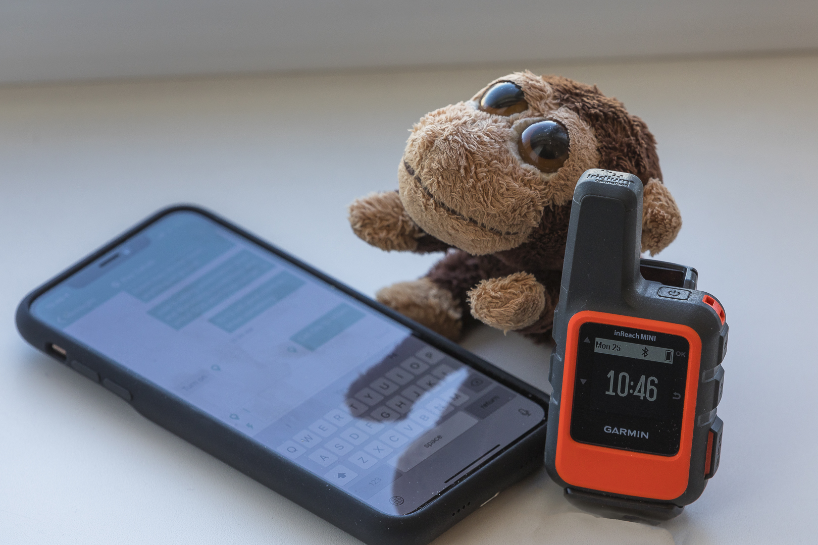 Mr. Monkey using the Garmin INReach Mini!