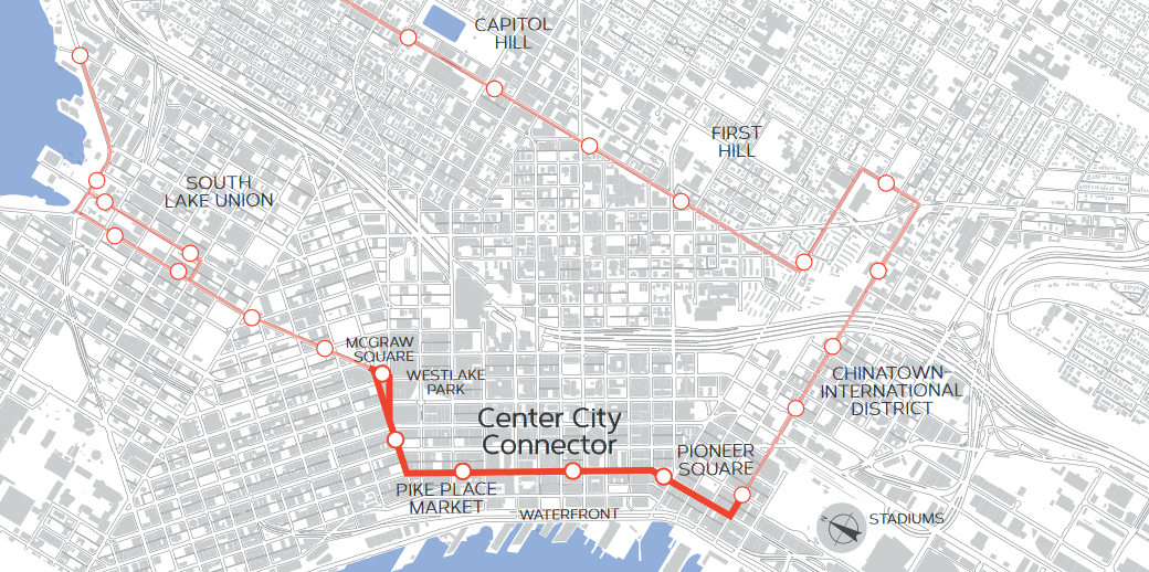 The Center City Connector will connect the existing South Lake Union and First Hill streetcar lines with an addition that runs along First Avenue.