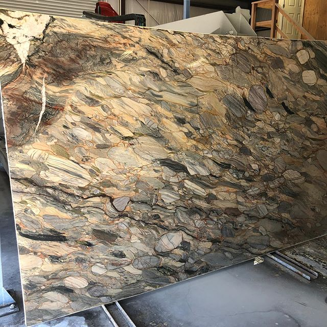 This is going to make one amazing Kitchen island with a waterfall edge • Hypnosis Quartzite • #quartzite#kitchen#kitchenisland#stone#kitchendesign#shoplocal#sonoraca#sierrastoneinc#stonefabractor#parkindustriesusa