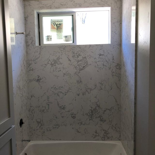 "Shower walls and vanity top in ""Calacatta Blanc"" #marble#recycledmarble#stone#showerwalls#bathroomdesign#vanitytop#sierrastoneinc#stonefabrication"