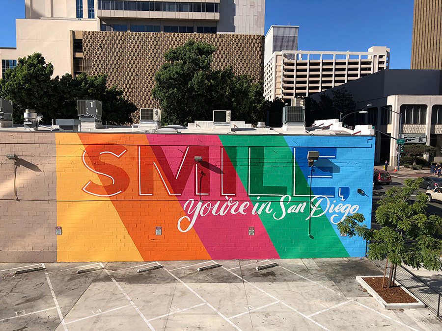 smile mural downtown you're in san diego rainbow