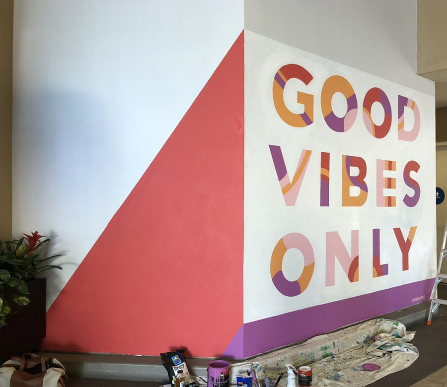 good vibes only hand painted custom mural for mall