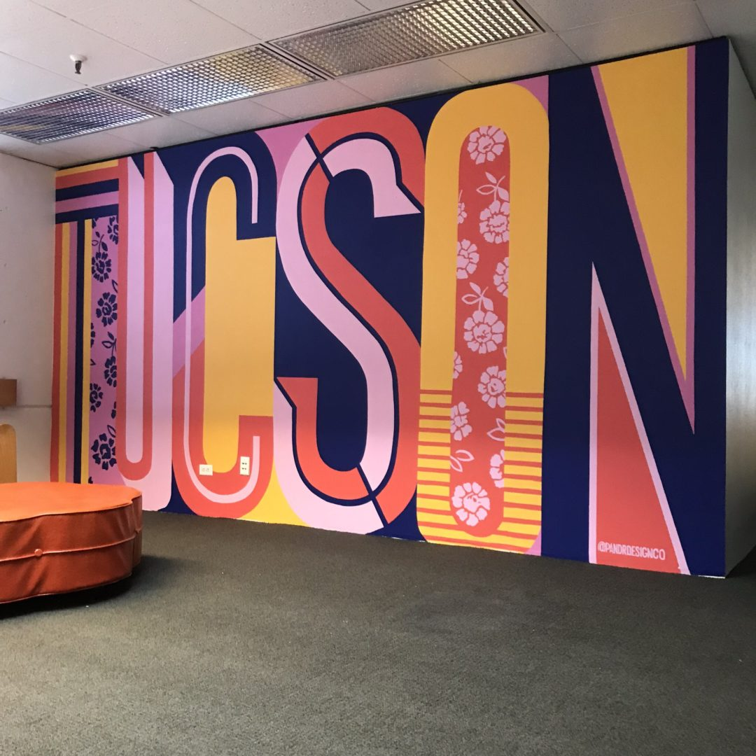 museum MOCA mural Tucson Lettering Mural using pink, yellow, and blue by Pandr custom and hand painted