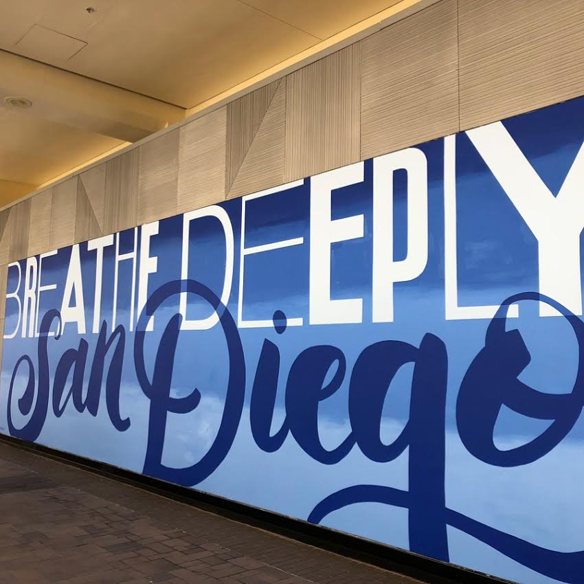 Custom Hand Painted Breathe Deeply San Diego Mural at LULU Lemon Athletica in Fashion Valley Mall