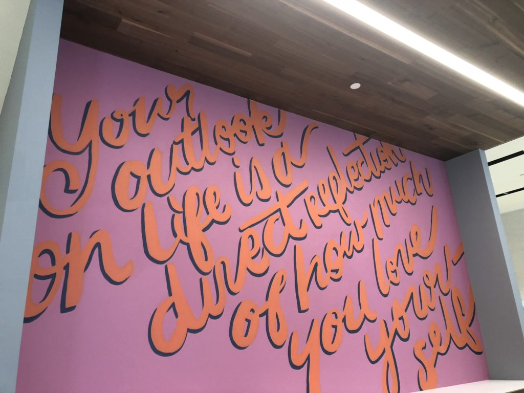Custom Hand Painted Outlook on Life Mural at LULU Lemon Athletica in Fashion Valley Mall