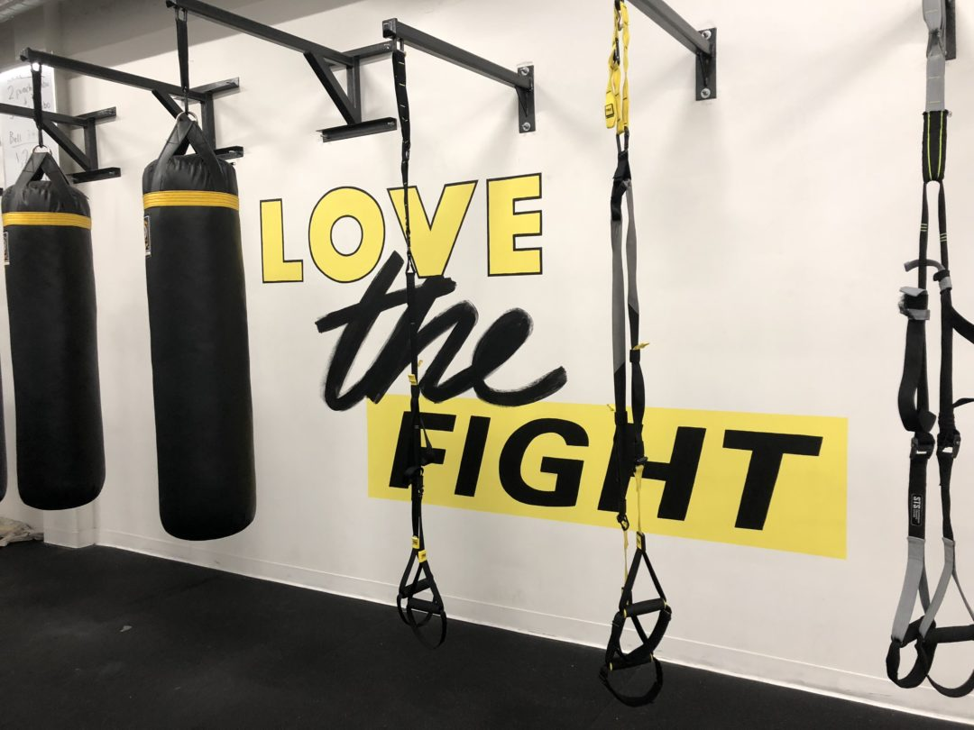 Custom Hand Painted Love the Fight Mural at BoxFit Gym