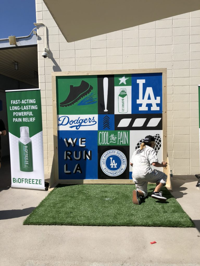 Dodgers MLB Custom Hand Painted Freestanding Mural at AT&T Stadium for Biofreeze