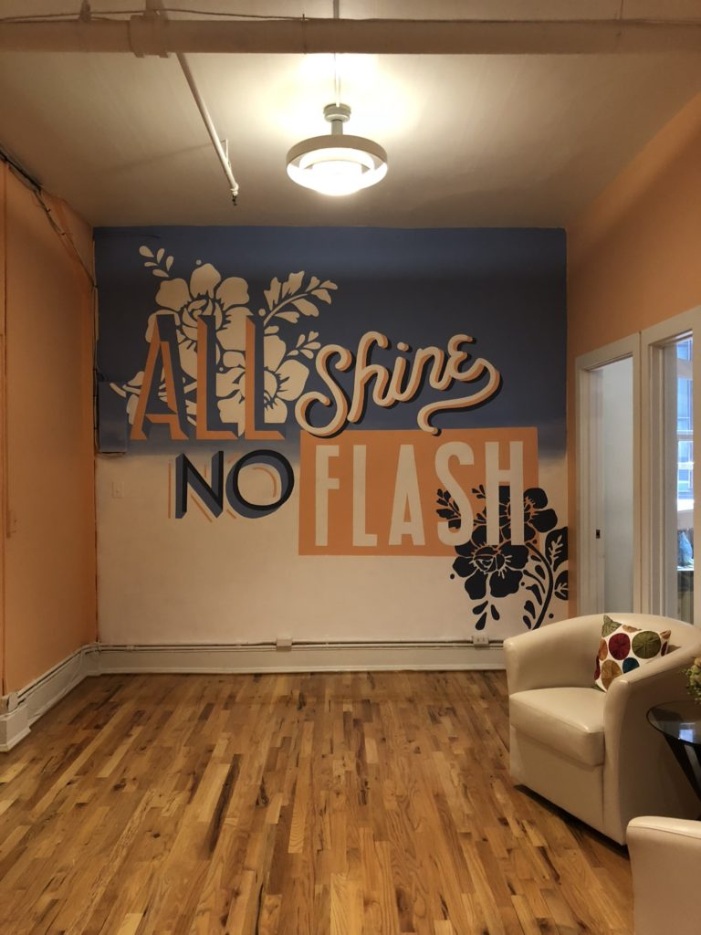 All Shine No Flash Custom Hand Painted Office Mural for A. Wordsmith