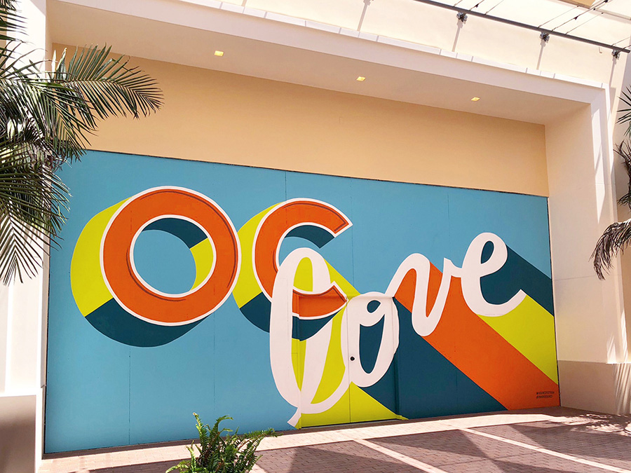 Custom Hand Painted OC Love Retail Barricade at the Irvine Spectrum