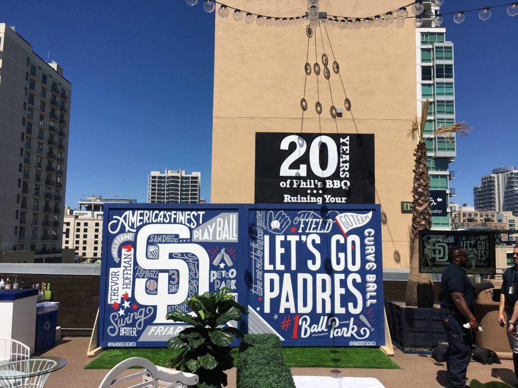 Custom Hand Painted Free Standing Padres MLB Baseball Team Mural